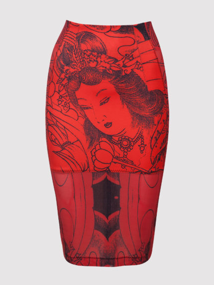Geisha Tattoo Pencil Skirt / Red