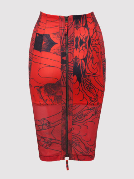Geisha Tattoo Pencil Skirt / Red / Back