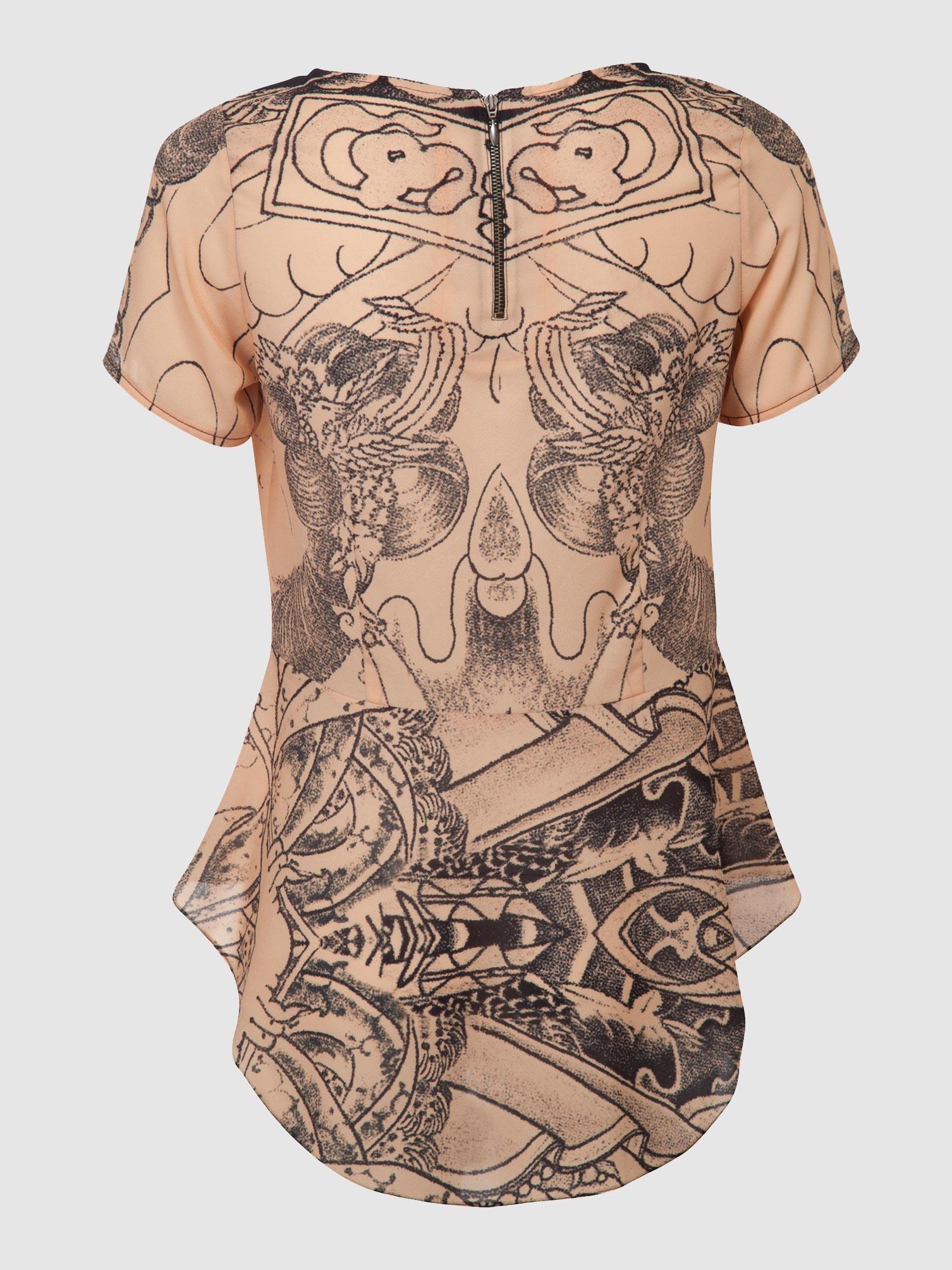 חולצת פפלום מקועקעת / ניוד / גב