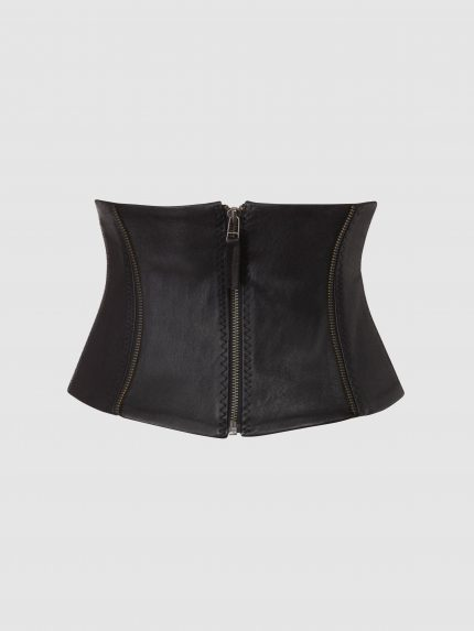 Stretch Leather Corset Belt / Black / Back