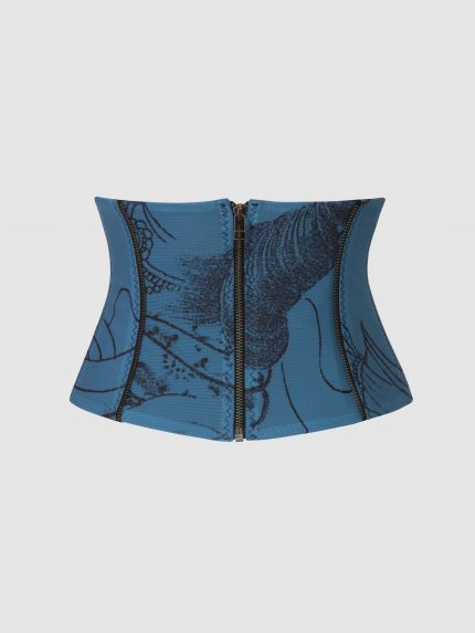Tattoo Corset Belt / Blue / Back