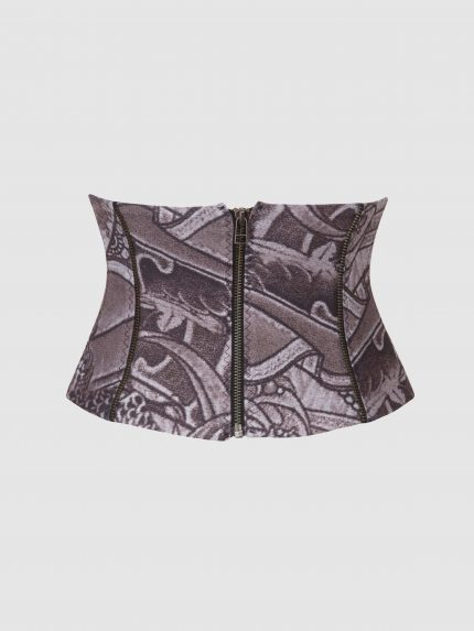 Tattoo Corset Belt / Gray / Back