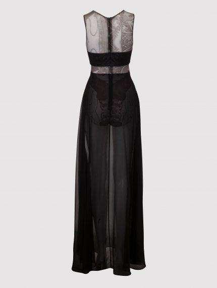 שמלת מקסי מקועקעת בגזרת A / שחור/לבן / גב