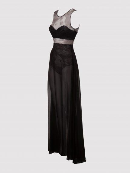 שמלת מקסי מקועקעת בגזרת A / שחור/לבן / שמאל