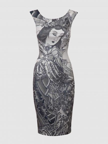 שמלת עפרון מקועקעת עם מחשוף סירה / שחור/לבן