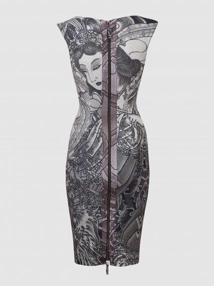 Boat Neckline Tattoo Pencil Dress / Black And White / Back