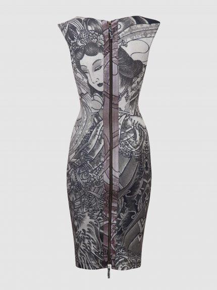 שמלת עפרון מקועקעת עם מחשוף סירה / שחור/לבן / גב