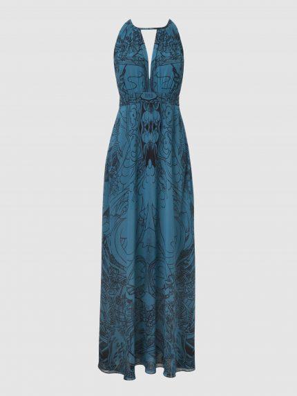 Deep V Neck Tattoo Halter Dress / Blue