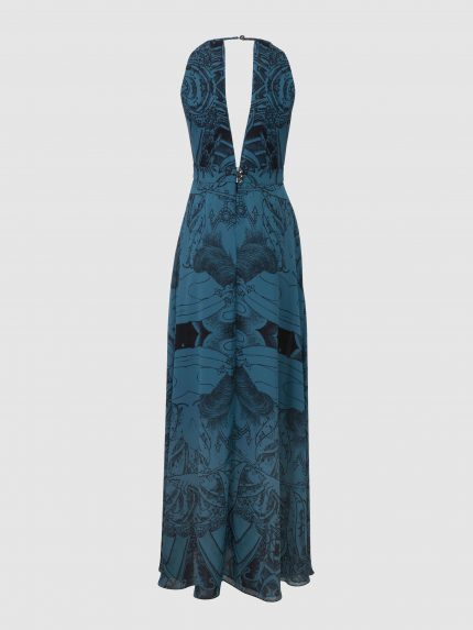 Deep V Neck Tattoo Halter Dress / Blue / Back