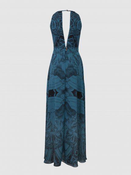 Deep V Neck Tattoo Halter Dress / Blue / Back