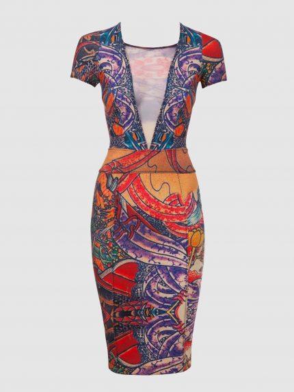 שמלת צינור מקועקעת עם מחשוף וי עמוק / צבעוני