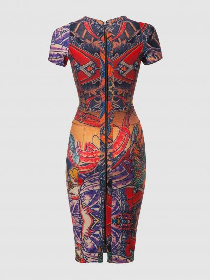 Deep V Neckline Tattoo Pipe Dress / Colorful / Back