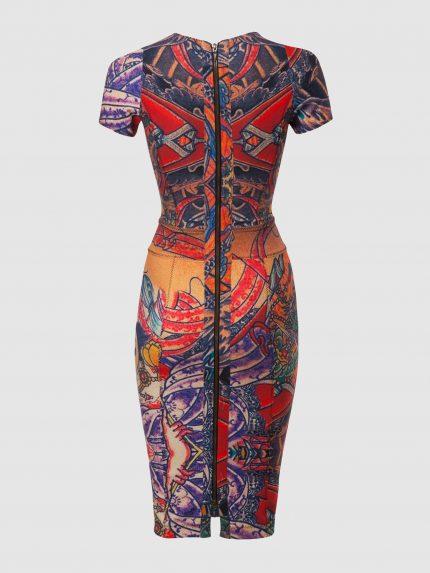 שמלת צינור מקועקעת עם מחשוף וי עמוק / צבעוני / גב