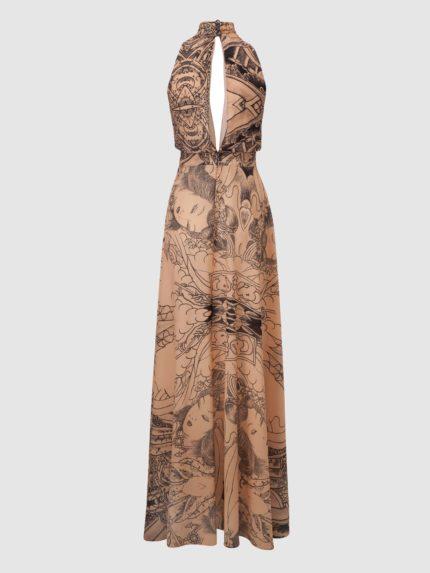 Halter Long Dress / Nude / Back