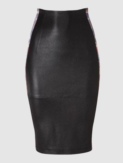 חצאית עיפרון מעור סטרץ' / שחור