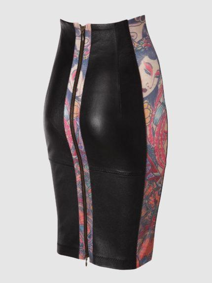 חצאית עיפרון מעור סטרץ' / שחור / גב