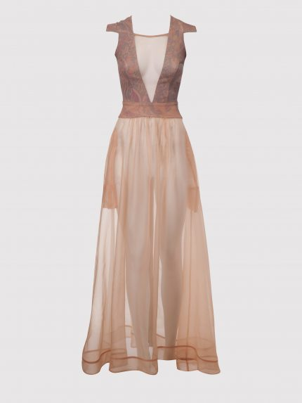Translucent Long Dress With Tattoo Leather Top / Nude