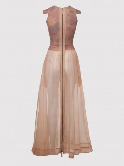 Translucent Long Dress With Tattoo Leather Top / Nude / Back