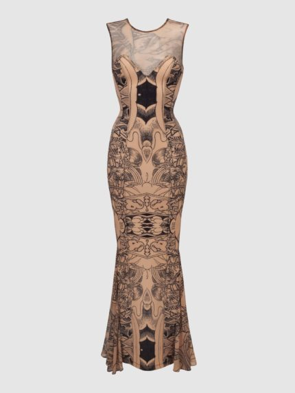 Tattoo Mermaid Dress / Nude