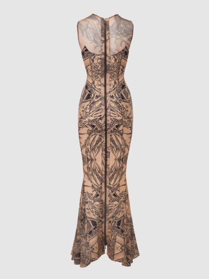 Tattoo Mermaid Dress / Nude / Back
