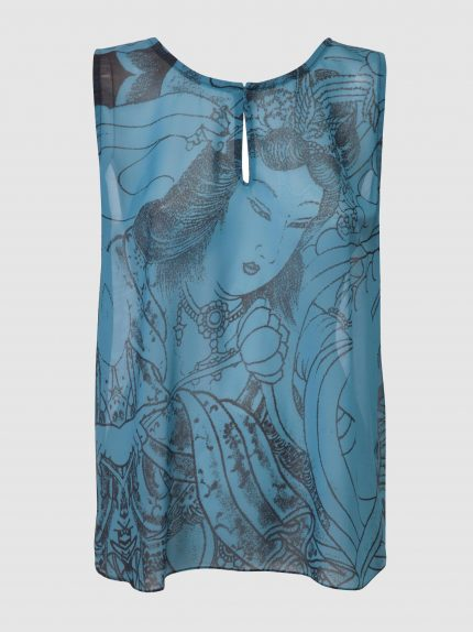 Oversized Tattoo Tunic Top / Blue
