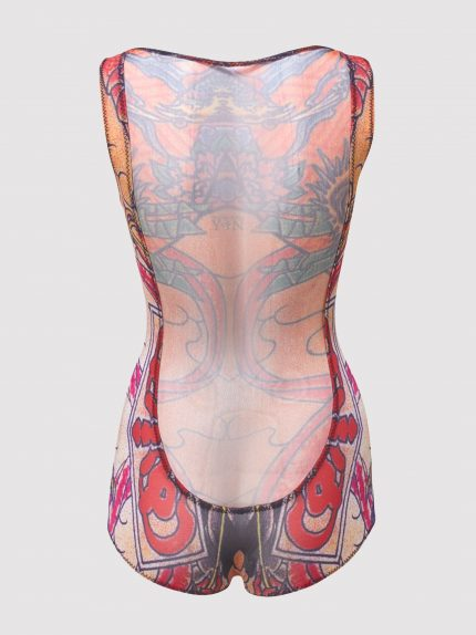 Sheer-Back Tattoo Bodysuit / Colorful / Back