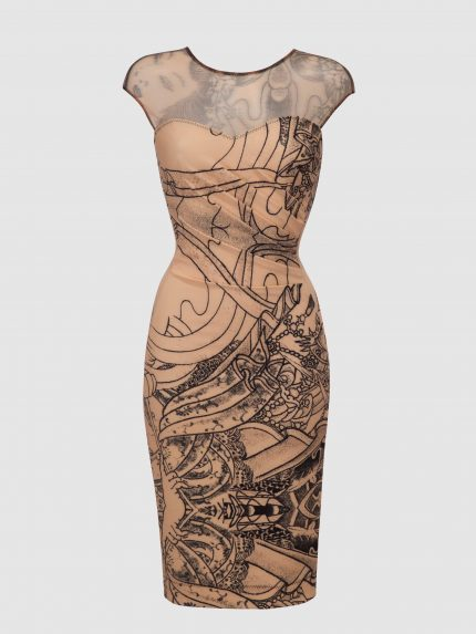 Sheer Neckline Tattoo Pencil Dress / Nude