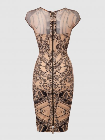 Sheer Neckline Tattoo Pencil Dress / Nude / Back