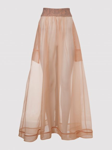 Silk Organza Long Skirt - Nude