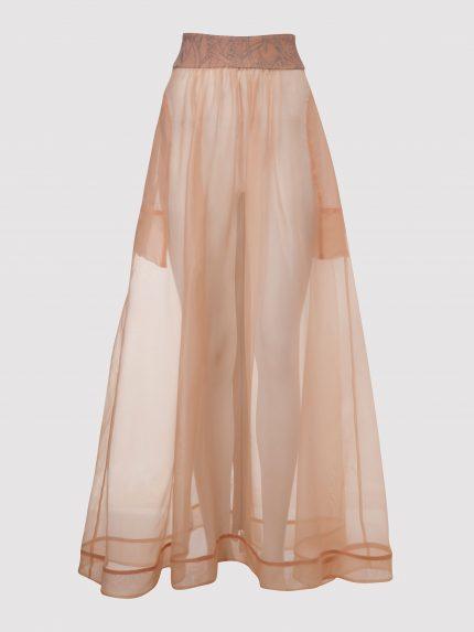 חצאית ארוכה מאורגנזה משי / ניוד