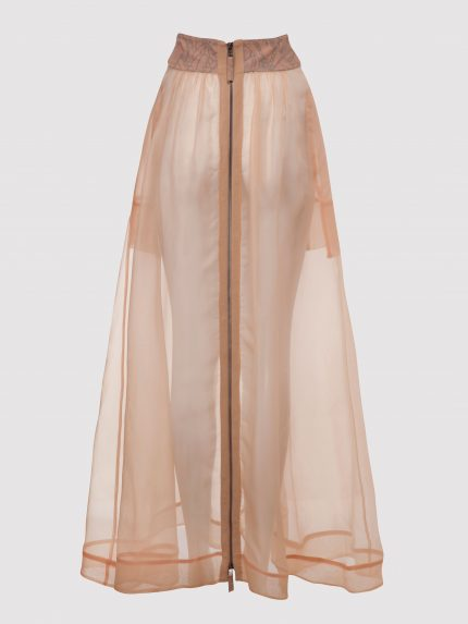Silk Organza Long Skirt / Nude / Back