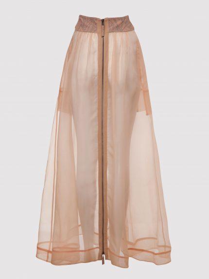 חצאית ארוכה מאורגנזה משי / ניוד / גב