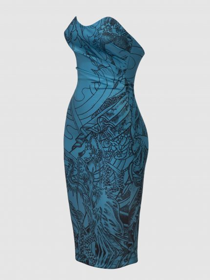 Strapless Tattoo Pencil Dress / Blue / Left