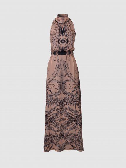 שמלת מקסי עם מחשוף קולר - ניוד
