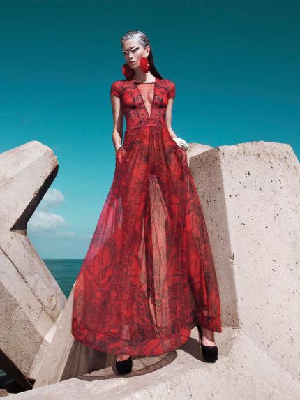 שמלת מקסי מקועקעת שקופה באדום