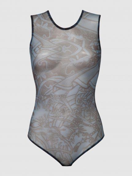 Tattoo Sleeveless See-Through Bodysuit / Blue