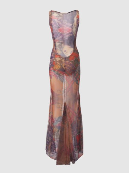 Translucent Leotard Tattoo Dress / Colorful / Back