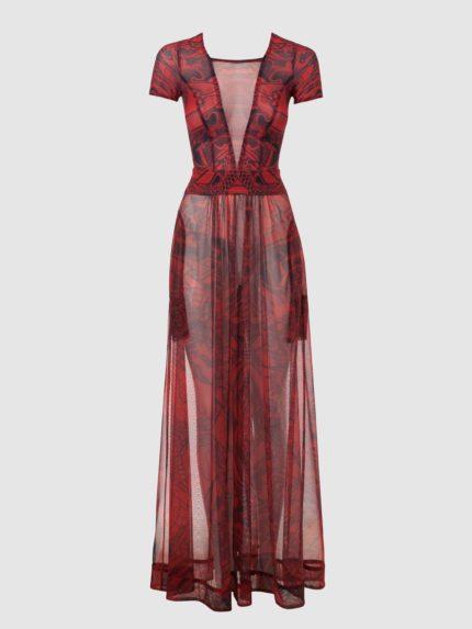 שמלת מקסי מקועקעת שקופה / אדום