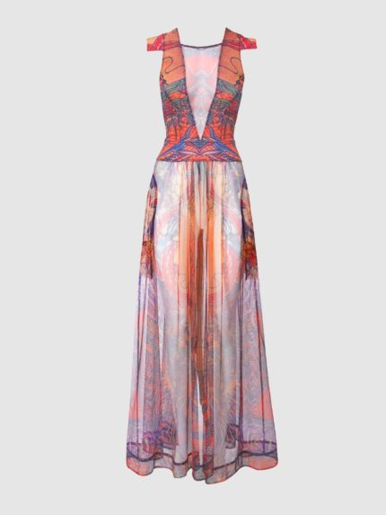 Wing Sleeves Sheer Back Translucent Long Dress - Colorful