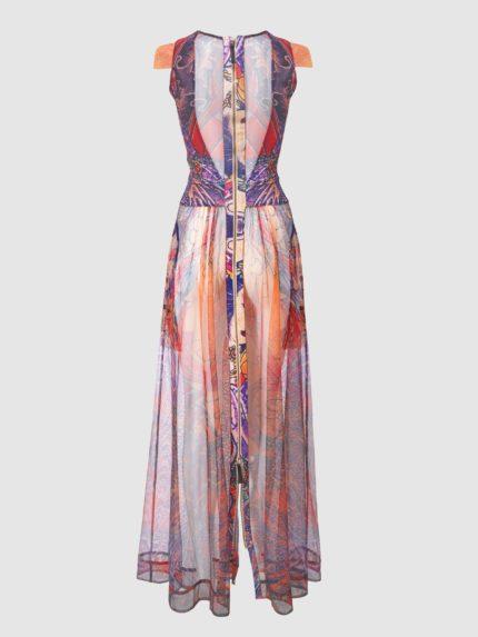 שמלת מקסי מקועקעת שקופה עם גב שקוף ושרוולי כנף / צבעוני / גב