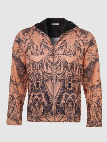 Men Tattoo Perforated Hoodie / Nude