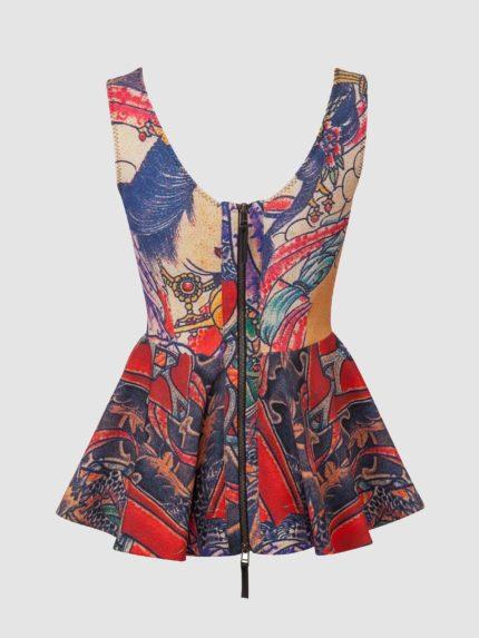 חולצת פפלום מקועקעת ללא שרוולים / צבעוני / גב
