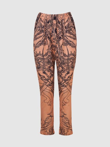 Perforated Hip-Hop Tattoo Low-Crotch Trousers / Nude