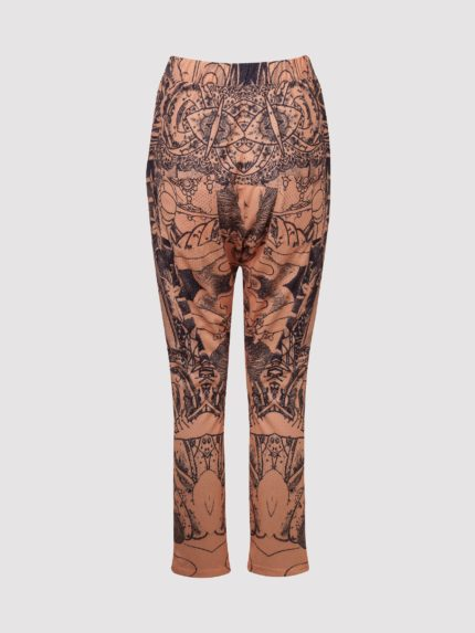 Perforated Hip-Hop Tattoo Low-Crotch Trousers / Nude / Back