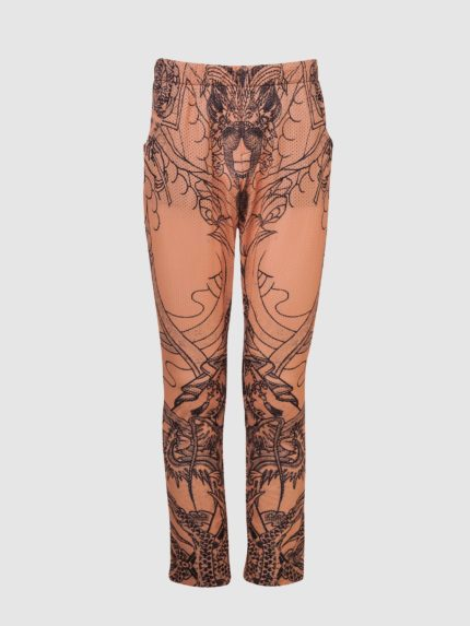 Perforated Hip-Hop Tattoo Trousers / Nude