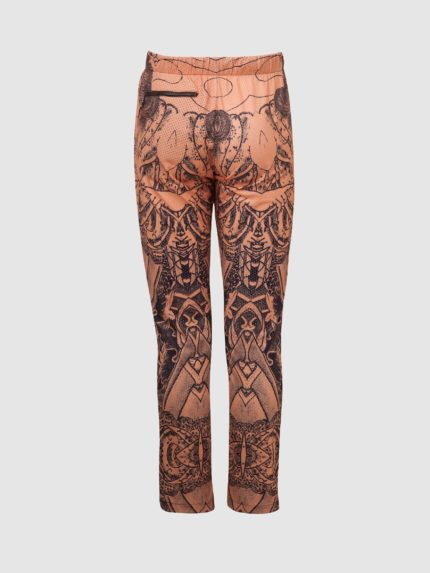 Perforated Hip-Hop Tattoo Trousers / Nude / Back