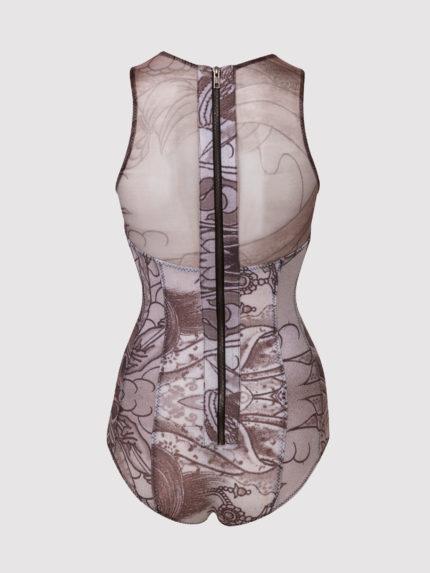 בגד גוף מקועקע עם מחשוף שקוף / שחור/לבן / גב