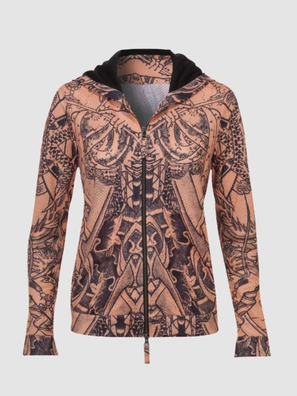 Women Tattoo Perforated Hoodie / Nude