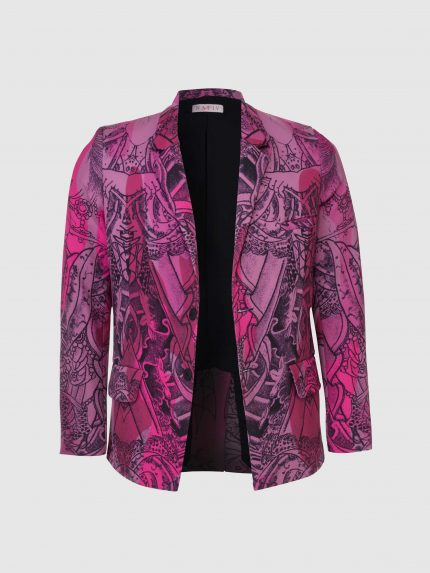 Tattoo Single Breasted Tailored Jacket With Notched Lapels / Pink Camouflage
