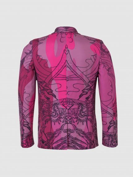 Tattoo Single Breasted Tailored Jacket With Notched Lapels / Pink Camouflage / Back